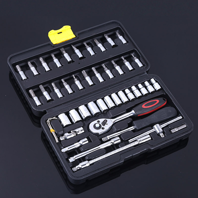 цена на 46 Pcs/set Universal Socket Wrench High Quality Ratchet Wrench Set Screwdriver Bits and Socket Head Tool Kit Auto Repair Tools
