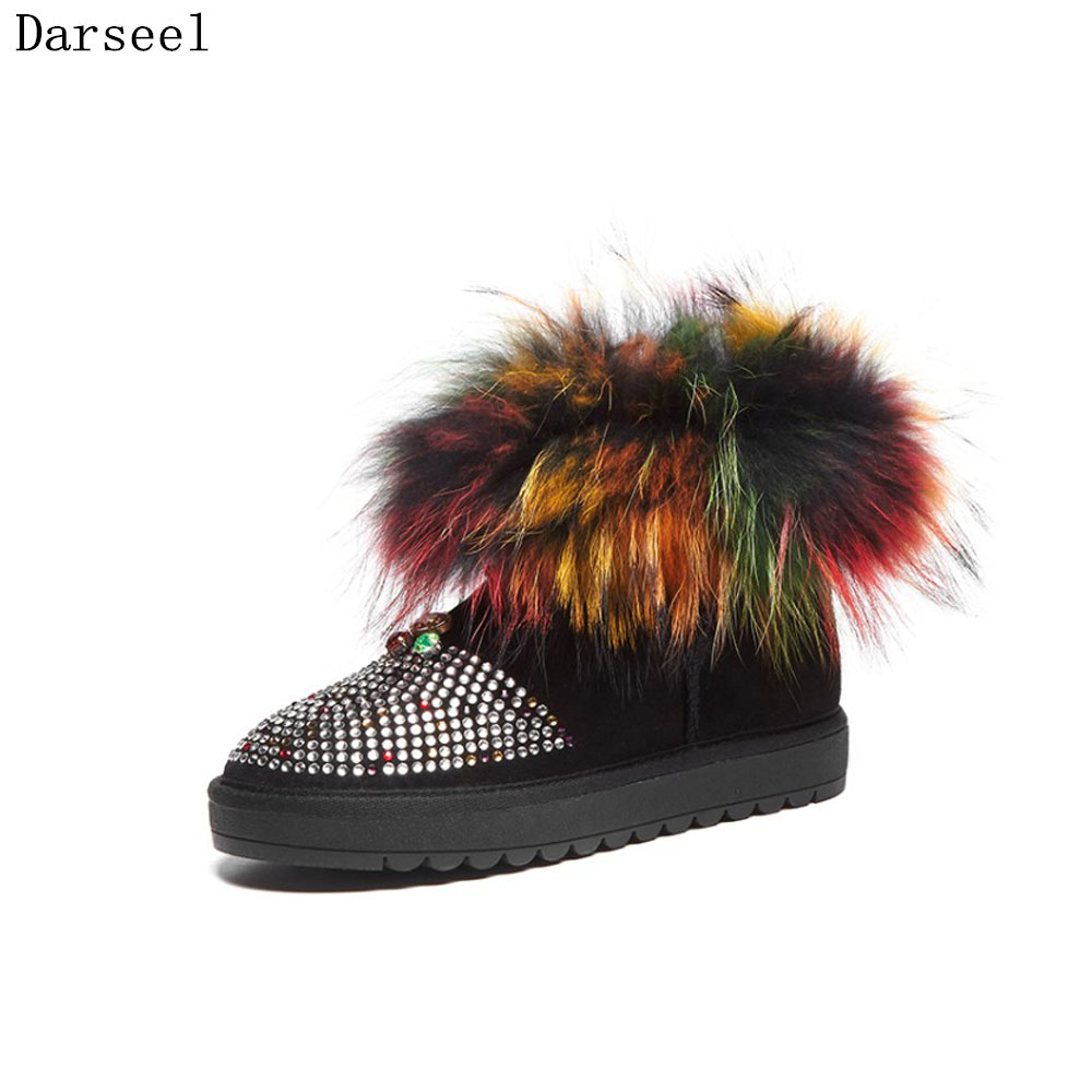 Darseel 33-42 Big Size Winter Warm Natural Real Fur Snow Boots Women Fashion Ankle Boots High Quality Designer Rhinestone Boots