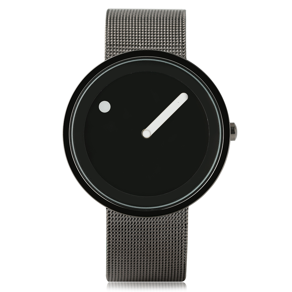 Classic Fashionable Quartz Watch Men Women Creative Watches Round Dial Black and White Surface Mesh Strap Casual Sports Clock bgg brand creative two turntables dial women men watch stainless mesh boy girl casual quartz watch students watch relogio
