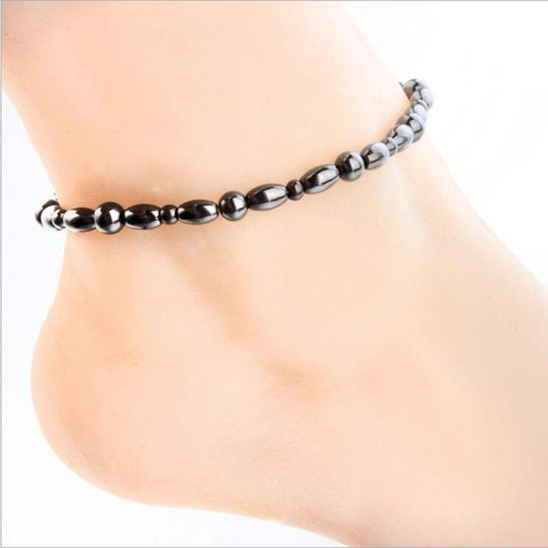 Anti Cellulite Anklet Bracelet Slimming Products Round Black Stone Magnetic Therapy Anklet Bracelet Health Care Luxury Jewelry