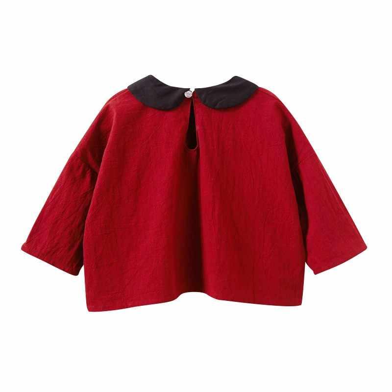 เด็กหญิงยาวแขนยาว O-Neck เสื้อสำหรับสาวแฟชั่นผ้าฝ้ายสไตล์หลวมๆเสื้อผ้าเด็กทารก