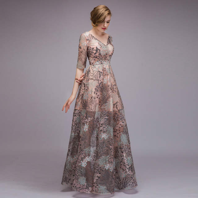 bb8a4b256c1eb JaneVini 2018 Fashion Lace Mother of the Bride Dresses for Weddings Half  Sleeve See Through Summer Evening Party Dress Godmother