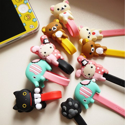 10pcs lot Lovely Black Cat Rabbit Cartoon Cable Winder Headphone Earphone Cable Wire Organizer Cord Holder