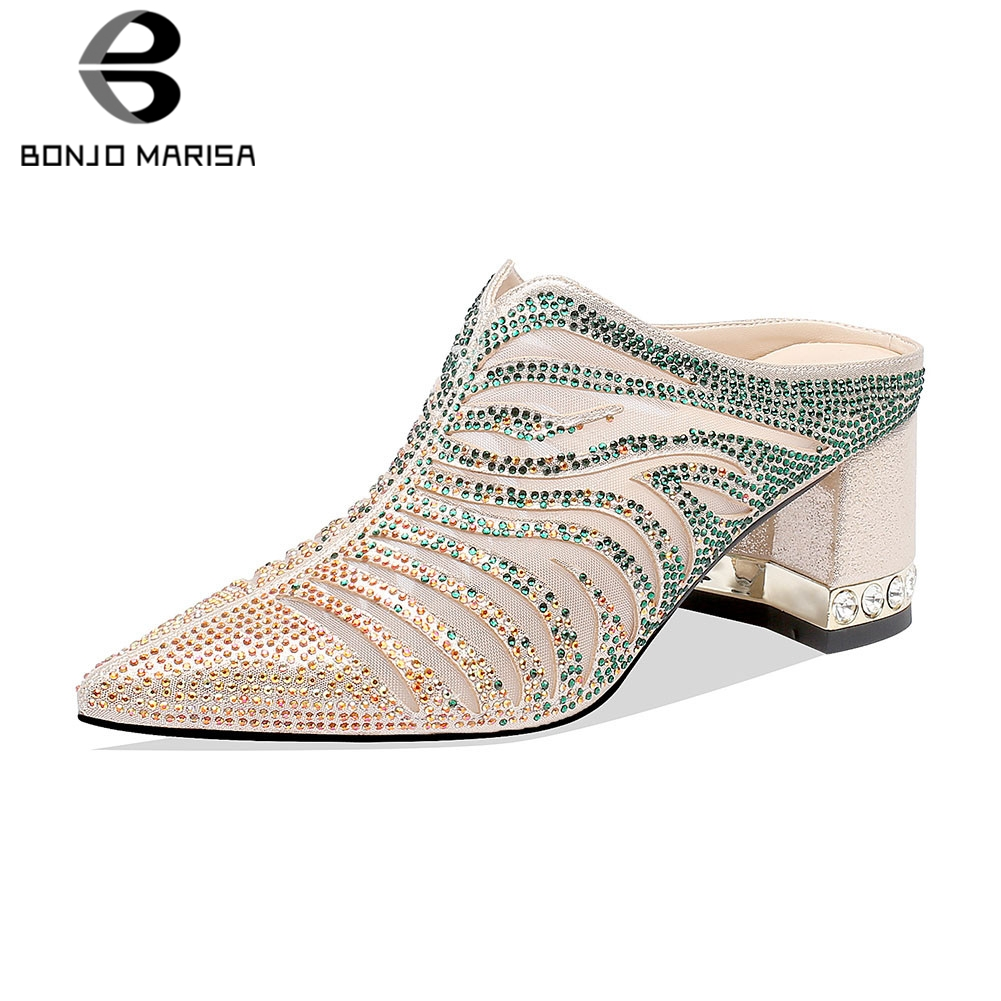 BONJOMARISA Brand New Big Size 34-41 Summer Mules 2019 Crystal Ladies High Heels Women Shoes Woman Casual Party Shoes FemaleBONJOMARISA Brand New Big Size 34-41 Summer Mules 2019 Crystal Ladies High Heels Women Shoes Woman Casual Party Shoes Female