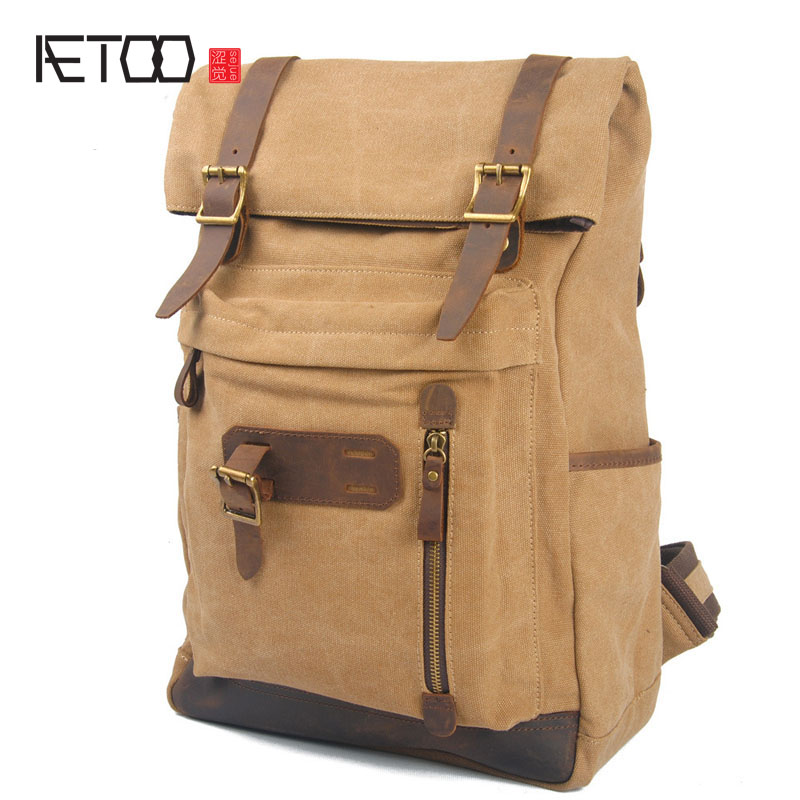 AETOO new winter - retro cotton canvas bags with head layer crazy horse leather backpack ...