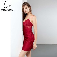 CINOON Satin Silk Panel Sleep Dress 2018 New Summer Spaghetti Strap Sexy Nightwear Red Sleeveless Plain Home Night