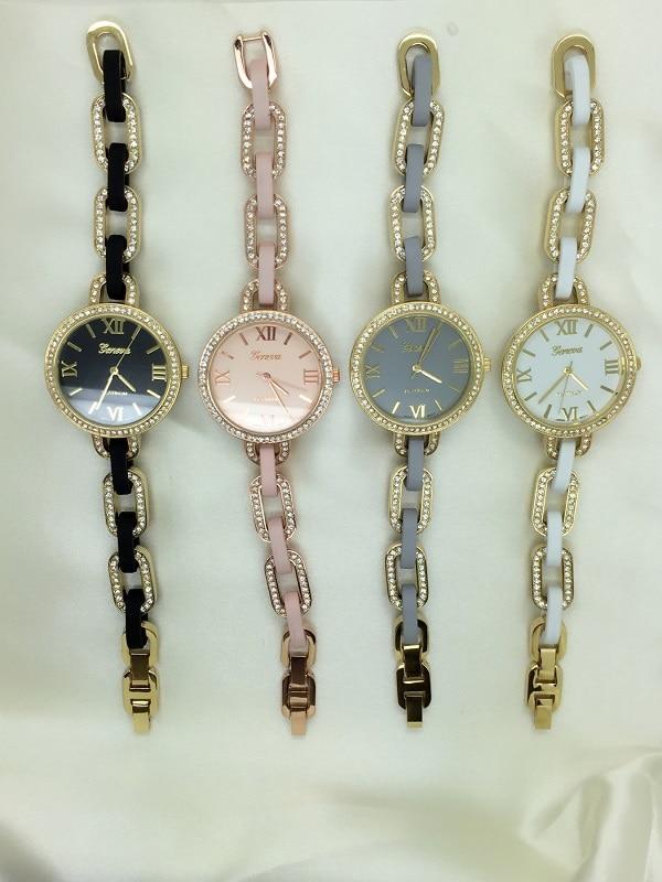 İnce Yeni Moda Rhinestones Bilezik İzle Cenevre Romen Rakamları - Kadın Saatler - Fotoğraf 2