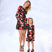 Mom Daughter Long Sleeve Dress Mother Daughter Dresses Clothes Printing Deer Matching Family Look Clothing