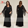 Plus Size Long Sleeve Black V-Neck Mother Of The Bride Dresses 2017 Beaded Chiffon Zipper Floor Length Formal Evening Gowns New