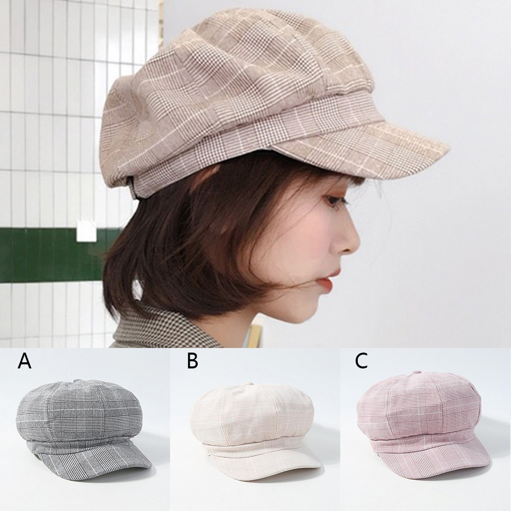 Female Hat Autumn And Winter Warm Fashion Duck Tongue Beret Plaid Painter Hat Trend Wild Winter Muts HX0128