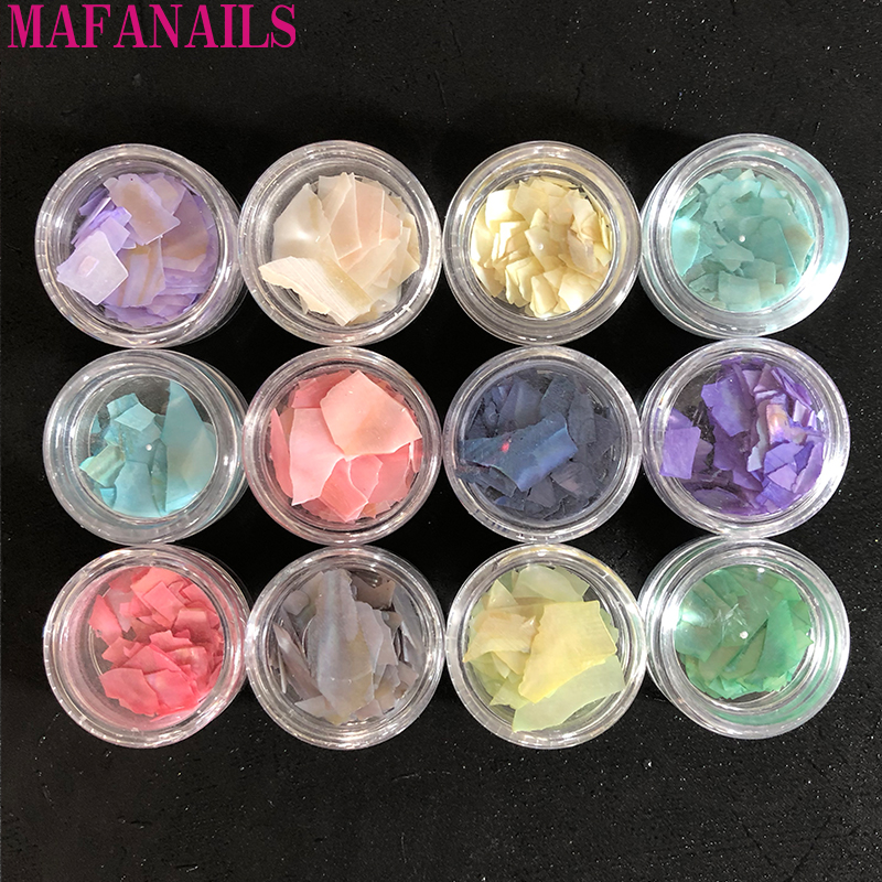 12Jar Nail Art Shell Thin Big Piece Irregular Abalone 3D Deco DIY Fragment Slice Sequins Beautiful Decals Jewelry
