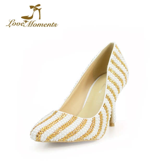 Love Moments Crystal And Pearl Wedding Shoes Gold And White Mix Color Bride Shoes Gorgeous Design