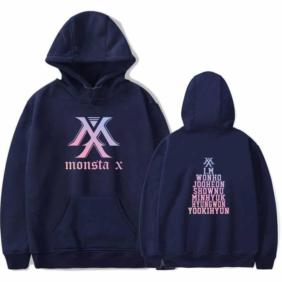 Kpop Monsta X هوديس النساء الرجال المتناثرة البلوز K-البوب Wonho YOOKIHYUN I.M jooheon طويلة الأكمام الصوف مقنعين رياضية 4XL