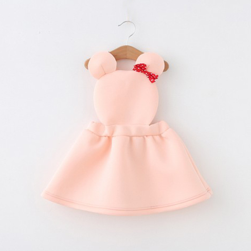 2016 Summer Lolita Style princess girls dresses 2color cute mouse bowknot baby costume kids frock designs braces for party