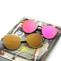 New 2017 High Quality Metal Frame Cat Eye Sunglasses Women Fashion Brand Designer Unisex Vintage Retro Sunglasses Gafas De Sol