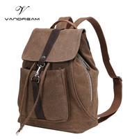 2017 New Vintage Brand Canvas Backpack Women Men Handmade Travel Bags Schoolbag Soild Girls Shoulder Laptop