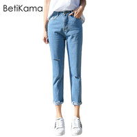 BettyKarma Spring Jeans Woman 2017 Cotton Loose Straight Denim Jean Plus Size Freddy Women Ripped Jeans