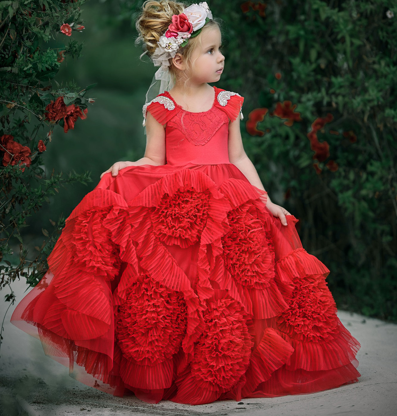 pp789 Europe and America round-neck lowers Ball Gown girls' stage Dress flowers children's wedding Dresses Girl Princess Dress round neck checked fringed dress