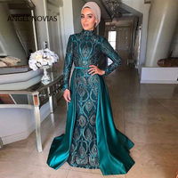 Long Sleeve Mermaid Muslim High Neck Green Lace Evening Dresses 2019 With Detachable Train Moroccan Kaftan Formal Party Gown