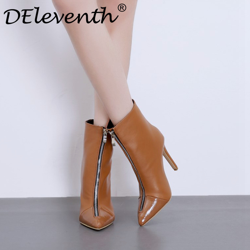 6ef5088c08af DEleventh ankle boots for womens spring winter stilettos thin high heels  pointed toe front zip mesh woman shoes brown black 8.5