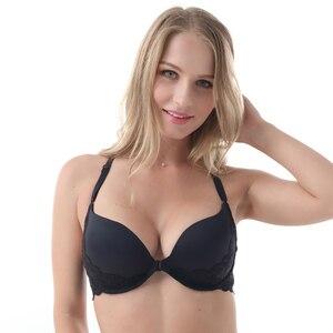 Image 3 - MiaoErSiDai סקסי בנות חזיית סט קדמי סגירת Y קו תחרה חזיות לנשים חלקה לדחוף את גדול גודל עבור אישה חזייה חוטיני A DD