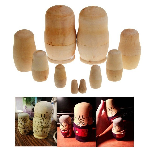 New Arrival 5pcs/set Unpainted DIY Blank Wooden Embryos Russian Nesting Dolls Matryoshka Toy