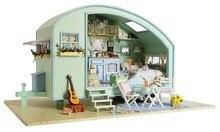 BRICOLAGE En Bois Miniature Caravane Dollhouse 3D maison de poupée Kit & Miniature Meubles Modèle LED Sound Control Swich Anglais Instruction