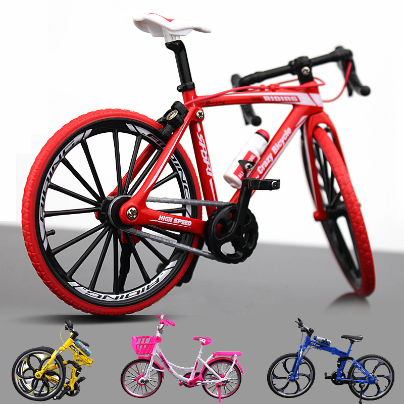 1pcs Diecast Metal Bicycle Model 1:10 Scale City Folded Road Race Cycling Mini Bike For Collection Friend Children Gift
