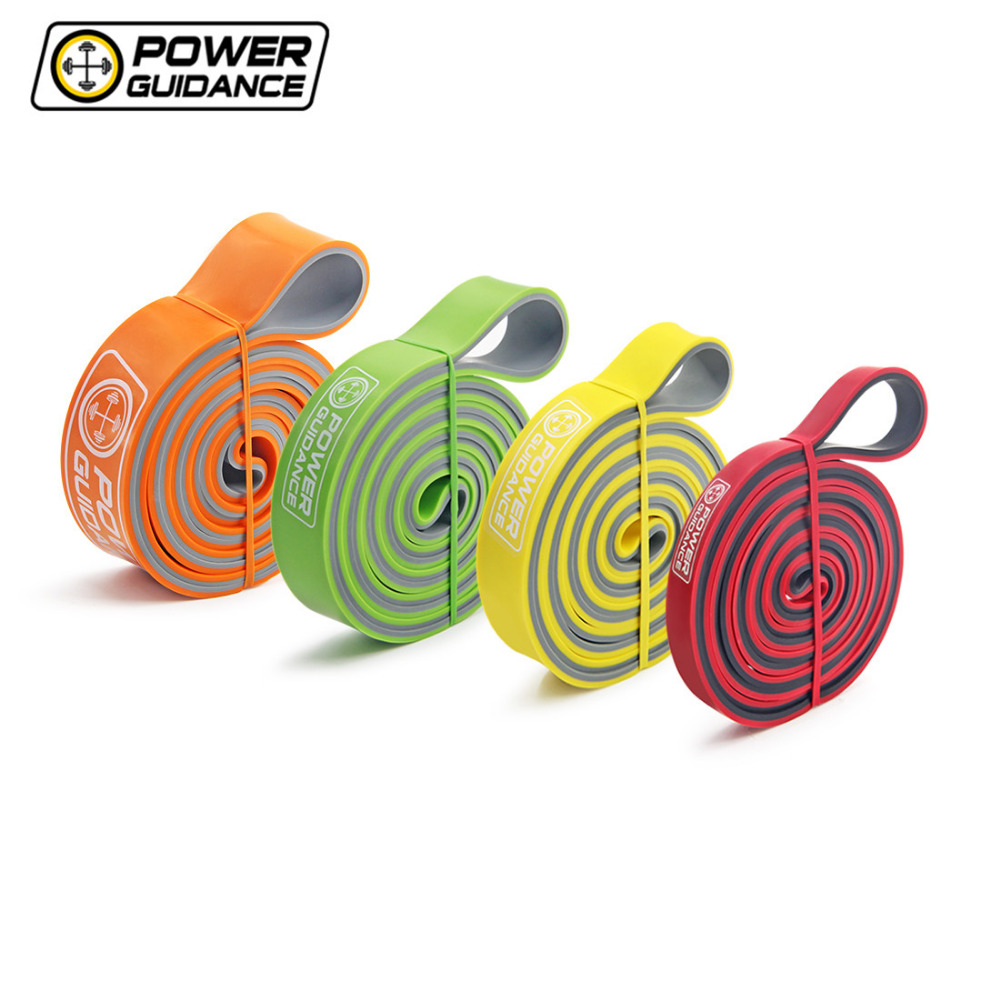 POWER GUIDANCE Bi-Color Latex Pull Up Resistance Bands assisted pull-ups Workout <font><b>Fitness</b></font> Power Rubber Band Loop Free Bag