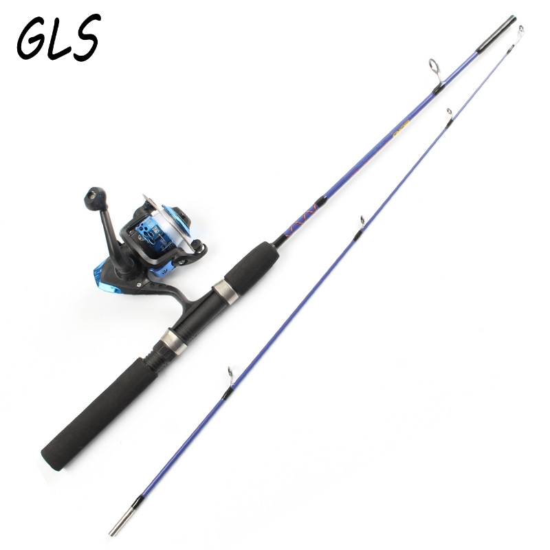 2 tip spinning Portable Ice fishing rod 1.2M/1.5M Lure Fishing rod and Fishing reel and line Fishing suit combination