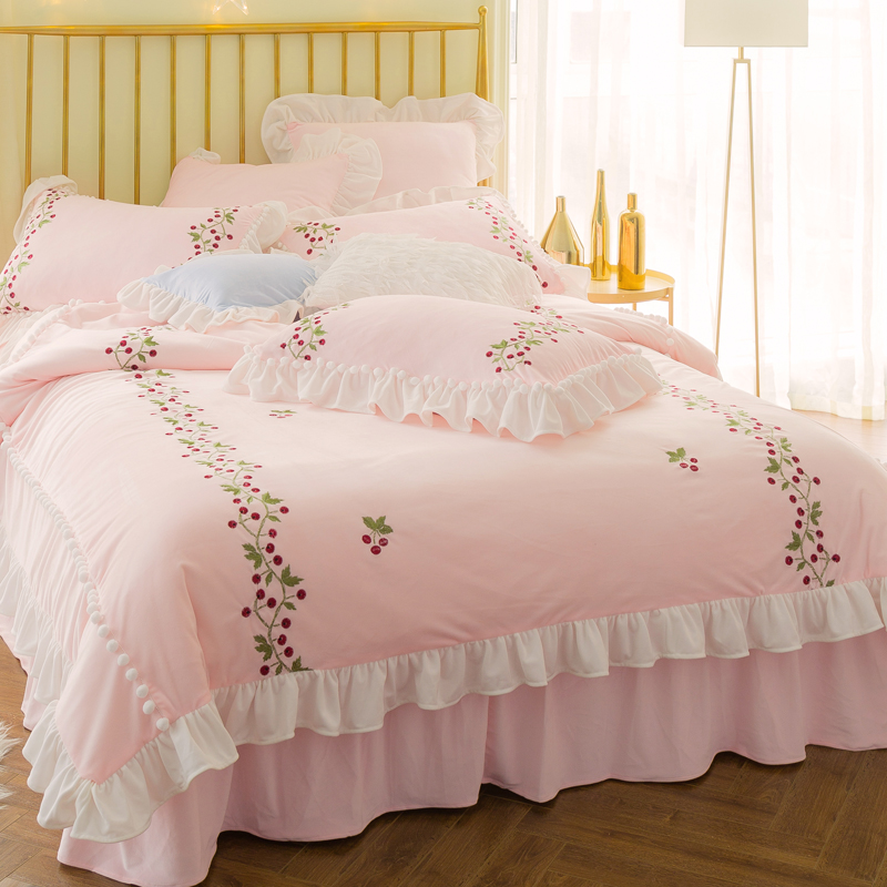 Thick fleece Warm bedclothes Princess style pink blue Bedding sets Queen King Bed sheet set for Gifts Duvet cover Pillowcases