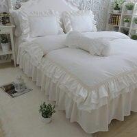 Топ Роскошный комплект постельных принадлежностей королева размер Вышивка рюшами Кружева Постельное белье Покрывало принцесса постельно