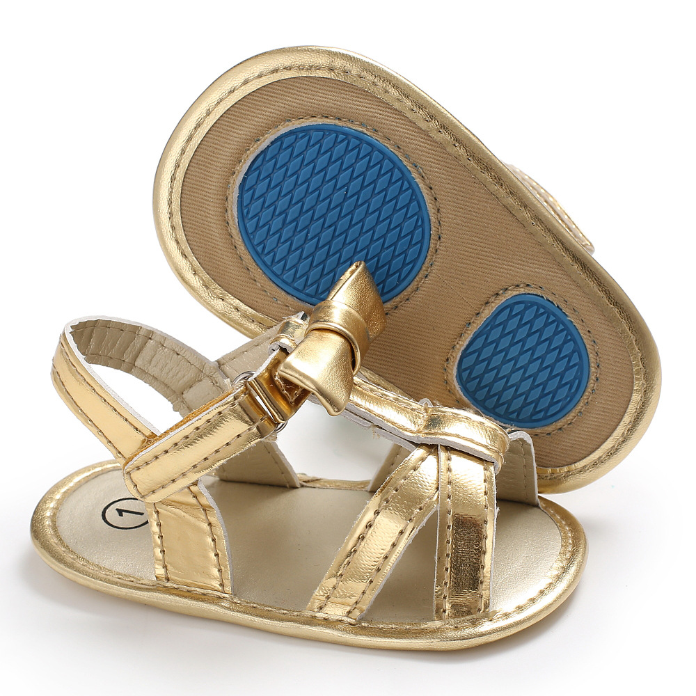 Gold Leather Shining Baby Infant Boy Girl Soft Sole Crib Footwear Summer Princess Sandals Non-Slip Summer Shoes