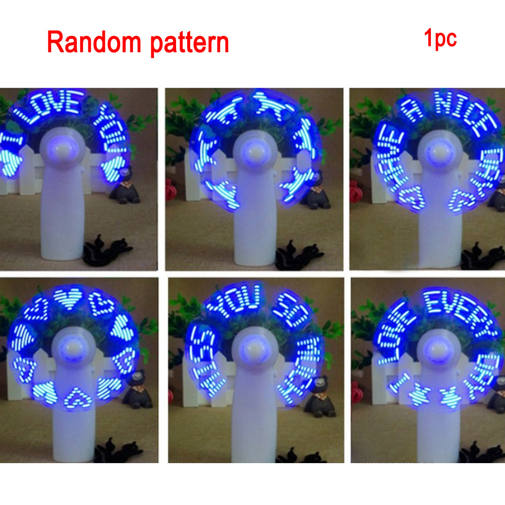 USB Handheld Fan Gadgets Flashing I Love You LED Cooler Desktop Cooling Gift Fan with Characters Messages