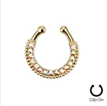 Piercing Nombril Real Trendy Plant 3 Pcs 2015 New Fake Nose Ring Tribal Fan Clip On Septum For Clicker Non Piercing Hoop Cz