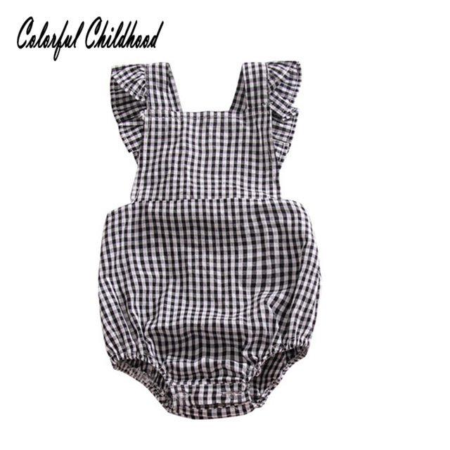 9576ef0aa616 England style princess girls romper black white plaid ruffles baby jumpsuit  cute toddler overalls summer children clothes