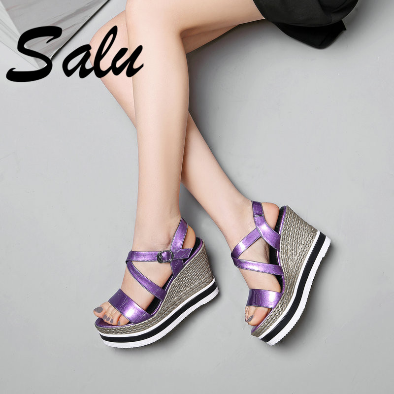 Salu 2019 New Arrival Top Quality Genuine Leather Women Sandals Fashion Sweet Concise Wedding Shoes Summer