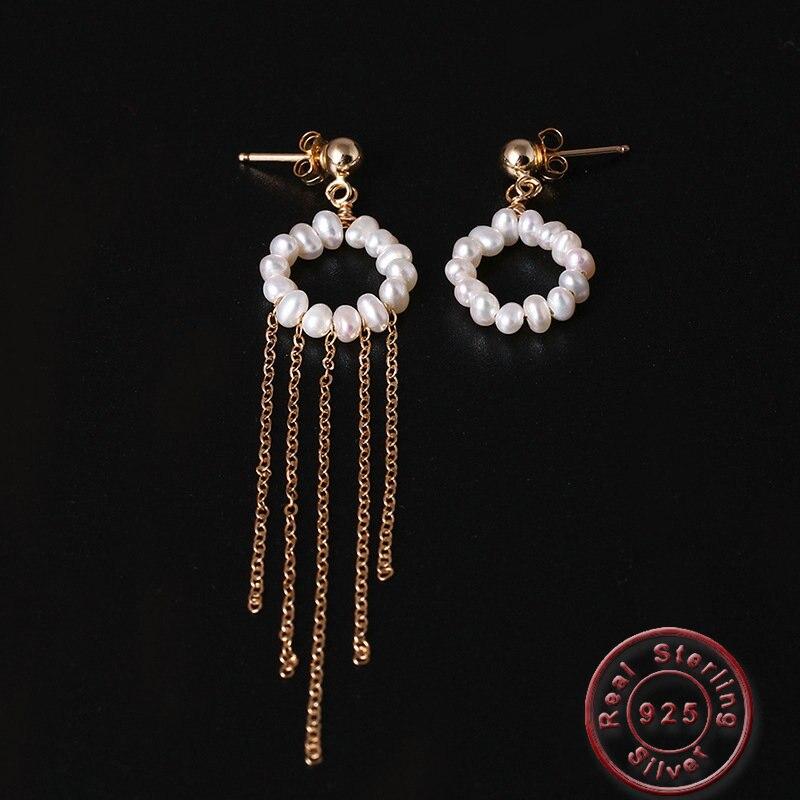 Amxiu mode perles d'eau douce boucles d'oreilles à la main 925 argent boucles d'oreilles longues gland boucles d'oreilles pour femmes filles cadeau accessoires