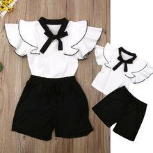 2Pcs White Girls Clothes Summer Sleeveless Ruffle Tops Dress+Shorts Toddler Girl Kid Outfits Set Baby