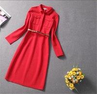 Woman spring plus size Epaulette slim dresses female autumn oversized hedging dress women button Robe lady mid calf Vestido