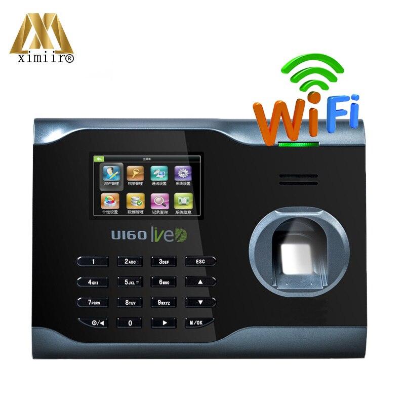 Gran oferta biométrica huella dactilar tiempo de asistencia tiempo reloj Linux sistema ZK U160 WIFI tiempo de asistencia grabadora WIFI comunicación
