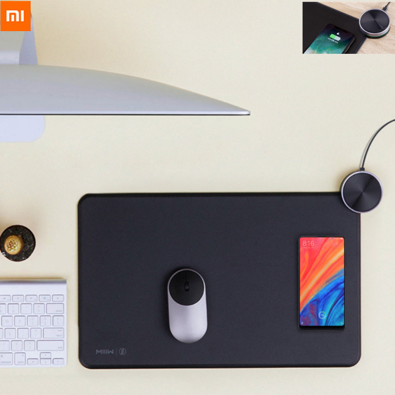Original <font><b>Xiaomi</b></font> MIIIW Mouse Pad Smart Qi Standard Support Mi Mix2S Wireless Charging <font><b>Mousepad</b></font> RGB Light Mouse Pad ABS Mouse Mat image