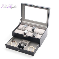 Double Layers Glass+PU Multifunction Watch Box Rings Organizer Packaging Bracelet Storage Jewelry Display 12+4 Grids Gift Z254