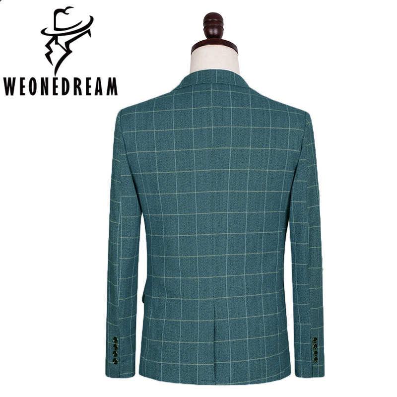 ジャケット+パンツ+ベスト3個男性最新コートパンツデザイン結婚式新郎シルクスーツ用男男性ブルーチェック柄スーツカスタムタキシード5xl