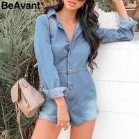 BeAvant Casual denim womens playsuits Long sleeve buttons blue jumpsuit romper female Office ladies sexy jumpsuit jeans overalls