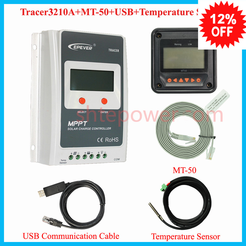 Tracer 3210A EPsloar 30A MPPT Solar Charge Controller 12V 24V LCD Diaplay EPEVER Regulators with USB communication cable &Sensor 30a mppt solar charge controller regulator tracer7810bp high efficiecny 12v 24v auto work with pc usb communication cable