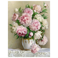 HOT Peony Flower Pattern Diamond Embroidery DIY Needlework Diamond Painting Cross Stitch 3D 5D Rhinestones Painting