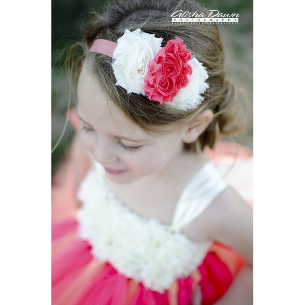 Coral Ivory Flower Girl Dress With Ivory Shabby Flowers Young