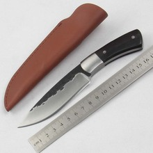1002 Hand Hunting Knife Ebony Handle Folding Handmade Outdoors Little Straight Knife Collecting Knife Free Shipping