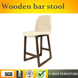 U-BEST Реплика Известный дизайн деревянный высокий барный стул со спинкой, твердый деревянный барный стул